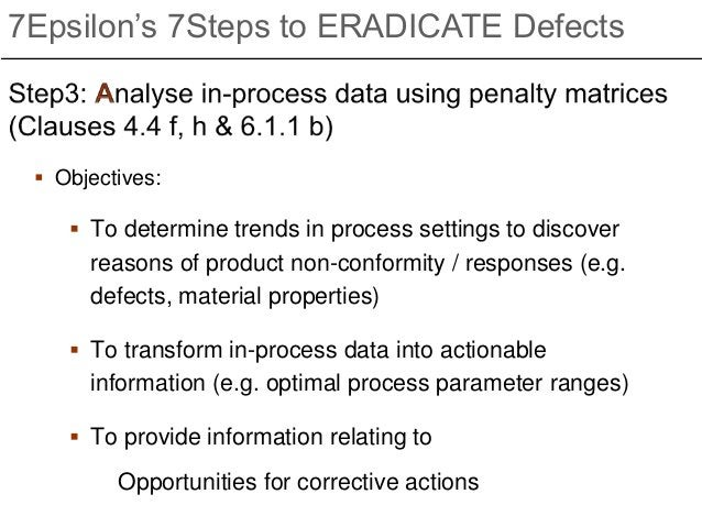  Objectives:  To determine trends in process settings to discover reasons of product non-conformity / responses (e.g. de...
