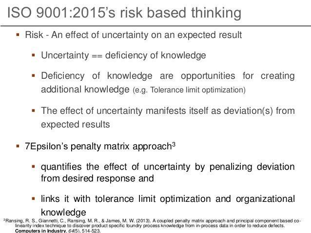  Risk - An effect of uncertainty on an expected result  Uncertainty == deficiency of knowledge  Deficiency of knowledge...