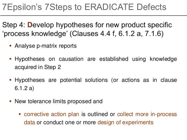  Analyse p-matrix reports  Hypotheses on causation are established using knowledge acquired in Step 2  Hypotheses are p...