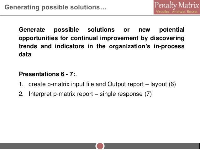 Generating possible solutions… Generate possible solutions or new potential opportunities for continual improvement by dis...