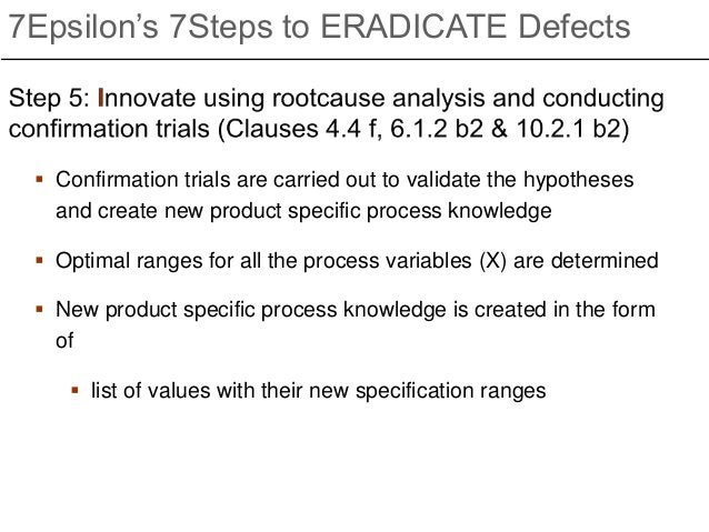  Confirmation trials are carried out to validate the hypotheses and create new product specific process knowledge  Optim...