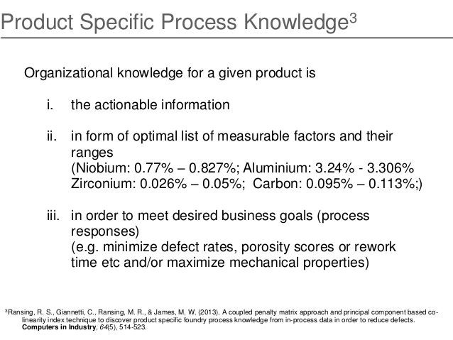 Product Specific Process Knowledge3 Organizational knowledge for a given product is i. the actionable information ii. in f...