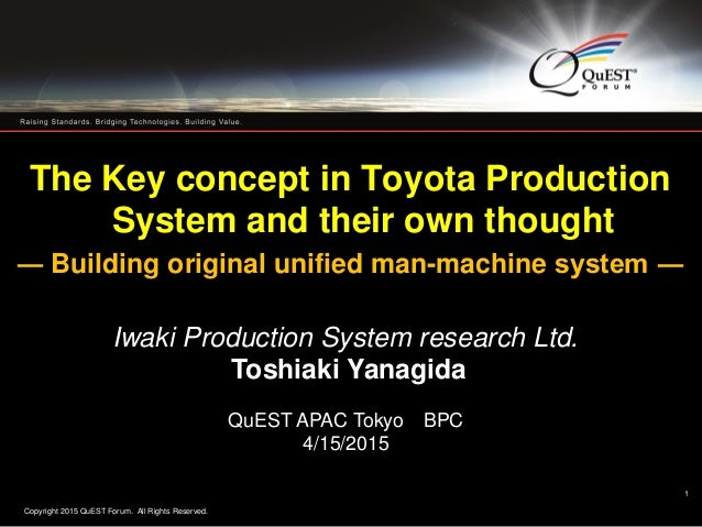 Copyright 2015 QuEST Forum. All Rights Reserved. 1 The Key concept in Toyota Production System and their own thought ― Bui...