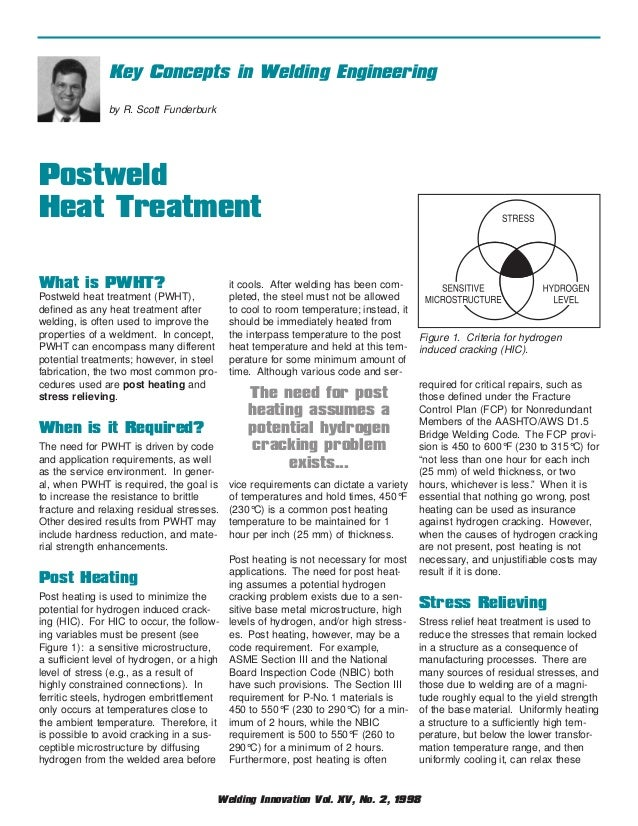 Key Concepts in Welding Engineering by R. Scott Funderburk  Postweld Heat Treatment What is PWHT?  it cools. After welding...