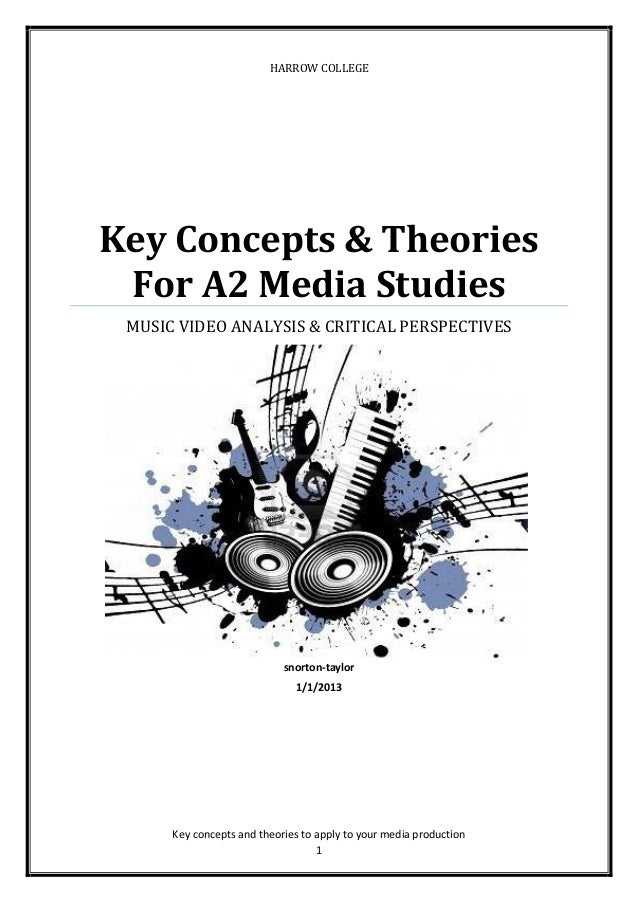 1 HARROW COLLEGE Key Concepts & Theories For A2 Media Studies MUSIC VIDEO ANALYSIS & CRITICAL PERSPECTIVES snorton-taylor ...