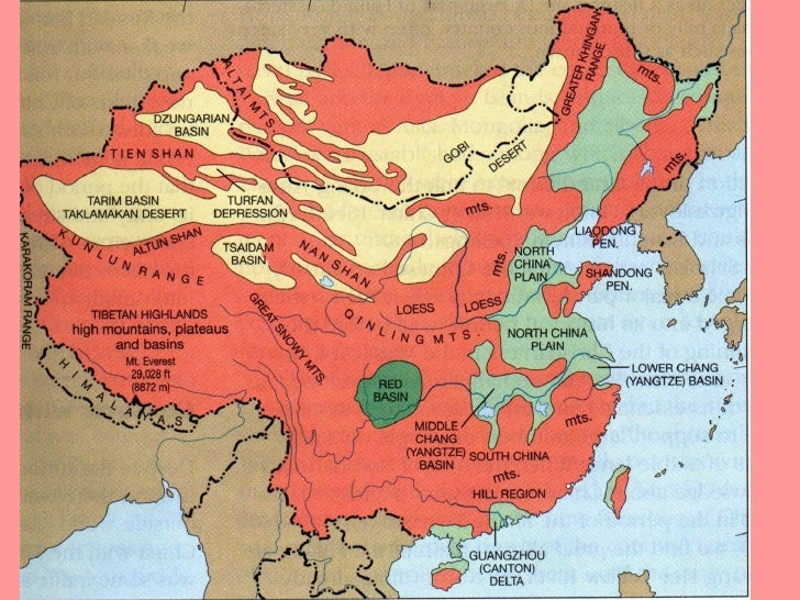 Physical Feature Map Of China.Key Concepts To Remember About China
