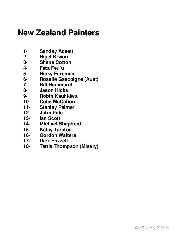 New Zealand Painters 1-    Sanday Adsett 2-    Nigel Brwon 3-    Shane Cotton 4-    Feta Feu'u 5-    Nicky Foreman 6-    R...
