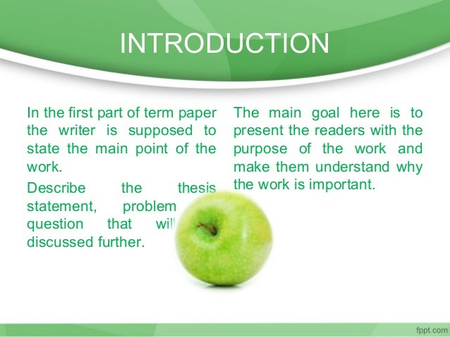 parts of introduction of term paper This handout provides detailed information about how to write research papers including discussing research papers as a genre, choosing topics, and finding sources.