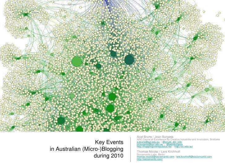 Key Events in Australian (Micro-)Bloggingduring 2010<br />Axel Bruns / Jean Burgess<br />ARC Centre of Excellence for Crea...