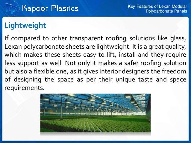 Key features of lexan modular polycarbonate panels