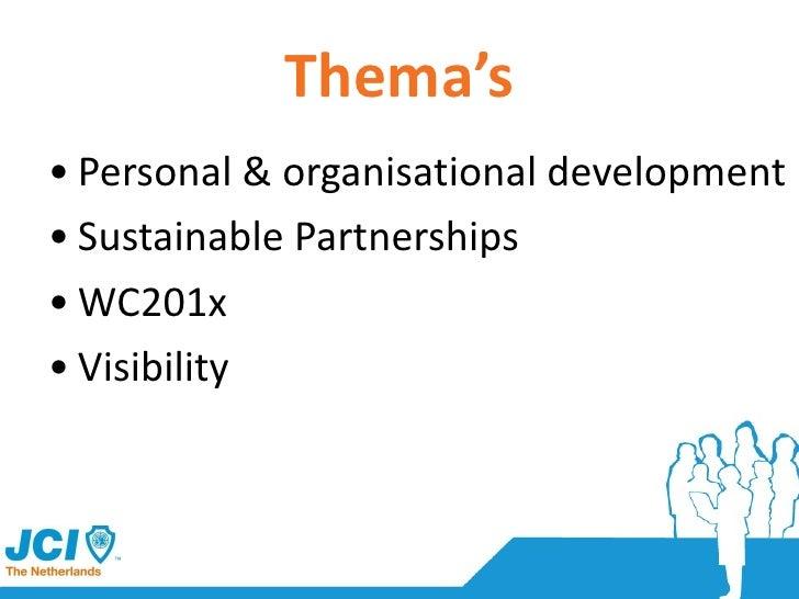 Thema's <ul><li>Personal & organisational development </li></ul><ul><li>Sustainable Partnerships </li></ul><ul><li>WC201x ...