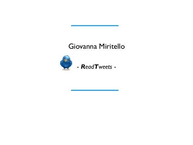 Giovanna Miritello  - ReadTweets -