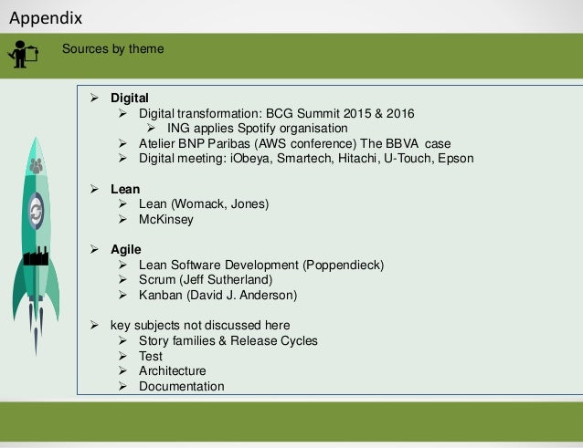 Appendix Sources by theme  Digital  Digital transformation: BCG Summit 2015 & 2016  ING applies Spotify organisation  ...