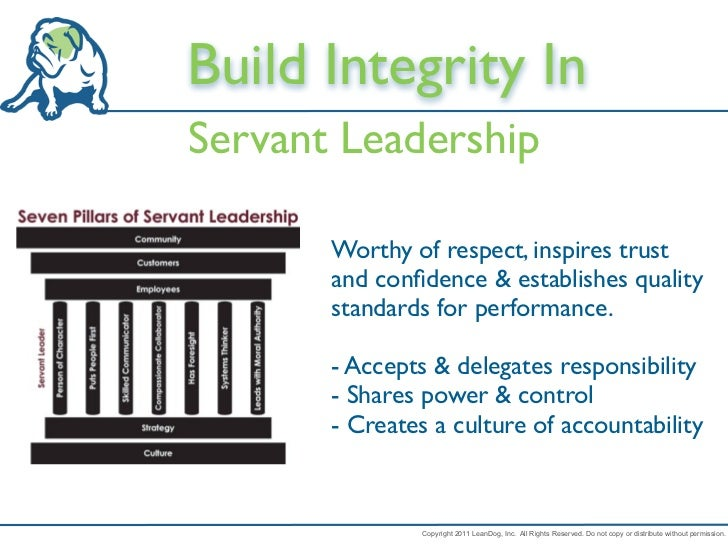 Build Integrity InServant Leadership       Worthy of respect, inspires trust       and confidence & establishes quality    ...