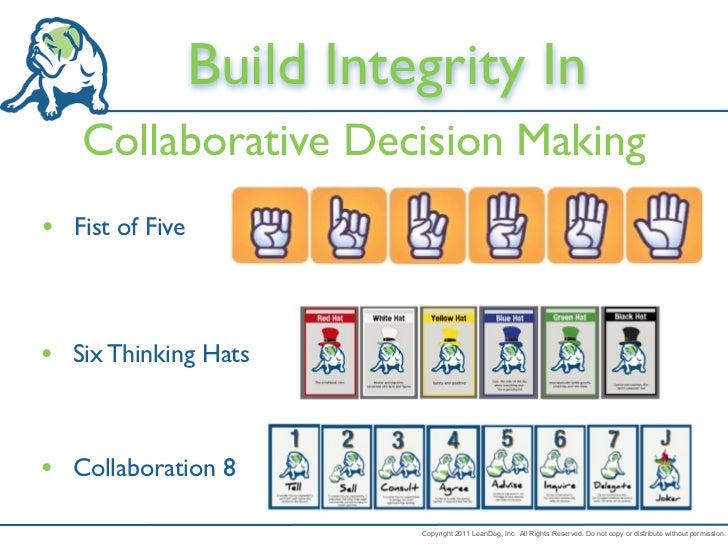 Build Integrity In   Collaborative Decision Making• Fist of Five• Six Thinking Hats• Collaboration 8                      ...