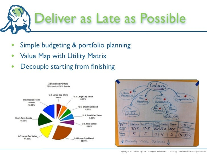 Deliver as Late as Possible• Simple budgeting & portfolio planning• Value Map with Utility Matrix• Decouple starting from ...