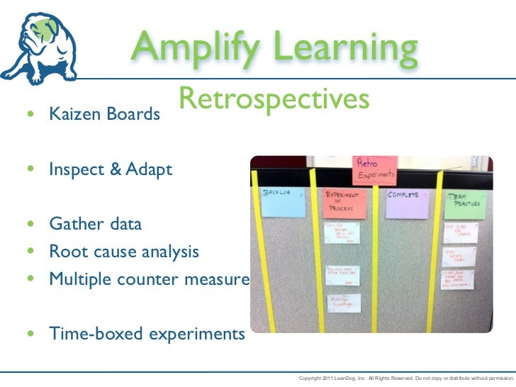 Amplify Learning• Kaizen Boards                    Retrospectives• Inspect & Adapt• Gather data• Root cause analysis• Mult...