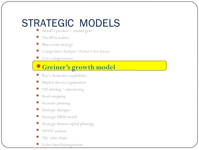 STRATEGIC MODELS  Ansoff's product / market grid  The BCG matrix  Blue ocean strategy  Competitive Analysis : Porter's...