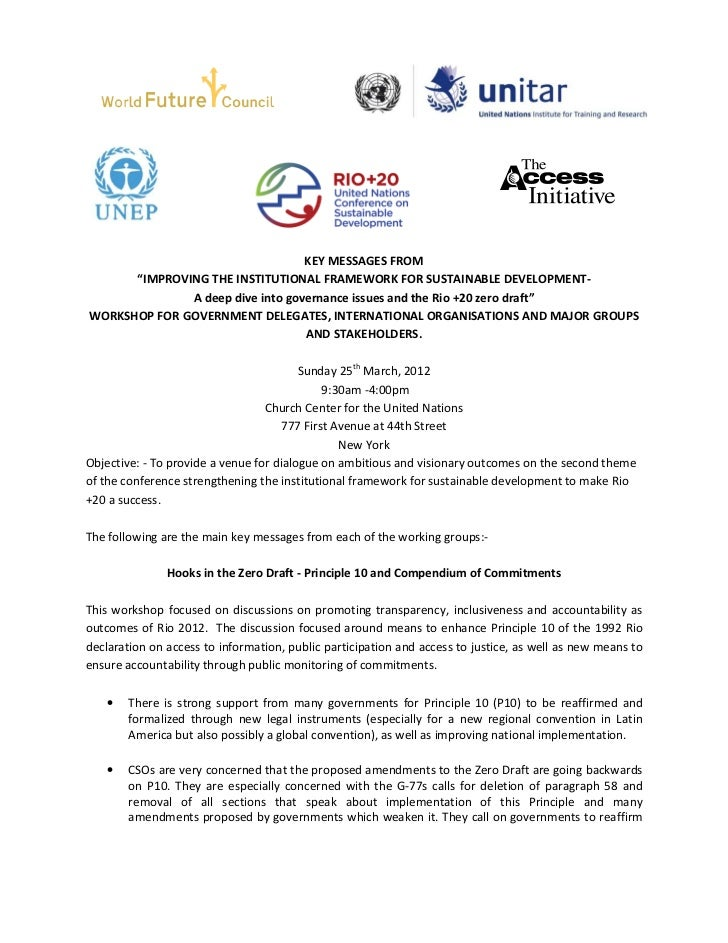 """KEY MESSAGES FROM      """"IMPROVING THE INSTITUTIONAL FRAMEWORK FOR SUSTAINABLE DEVELOPMENT-              A deep dive into g..."""