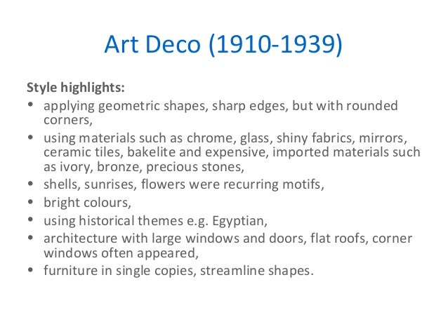 Key movements in design for Art deco building materials