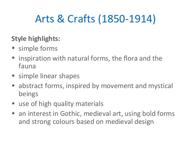 Arts And Crafts Design Movement Key Features