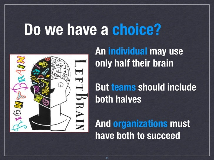 Do we have a choice?           An individual often uses           only half their brain            Effective teams and    ...