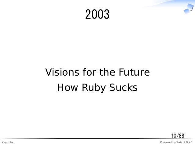 Keynote Powered by Rabbit 0.9.1 2003 Visions for the Future How Ruby Sucks 10/88