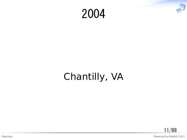 Keynote Powered by Rabbit 0.9.1 2004 Chantilly, VA 11/88