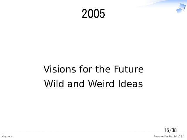 Keynote Powered by Rabbit 0.9.1 2005 Visions for the Future Wild and Weird Ideas 15/88