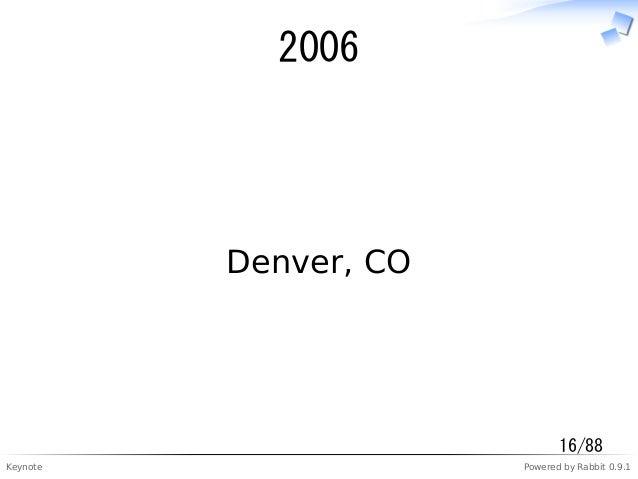 Keynote Powered by Rabbit 0.9.1 2006 Denver, CO 16/88
