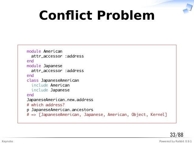 Keynote Powered by Rabbit 0.9.1 Conflict Problem module American attr_accessor :address end module Japanese attr_accessor :...