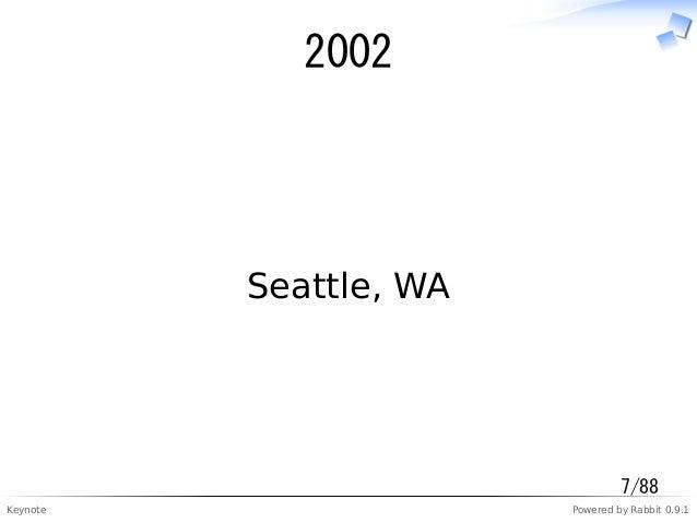 Keynote Powered by Rabbit 0.9.1 2002 Seattle, WA 7/88