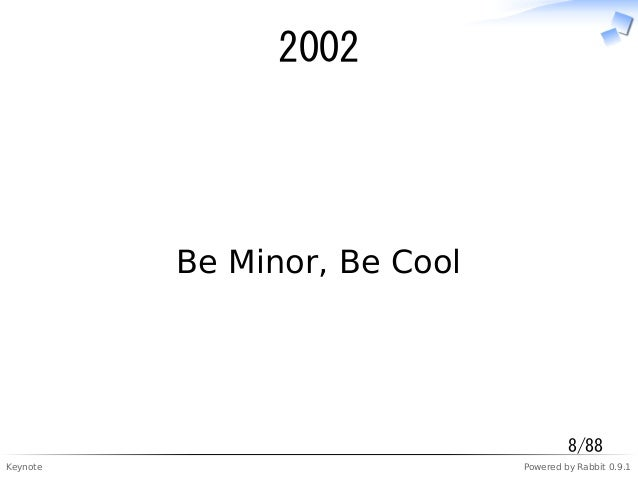 Keynote Powered by Rabbit 0.9.1 2002 Be Minor, Be Cool 8/88