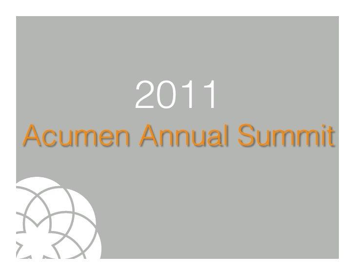 2011Acumen Annual Summit