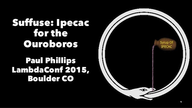 Suffuse: Ipecac for the Ouroboros Paul Phillips LambdaConf 2015, Boulder CO 1