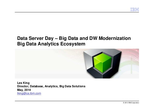 © 2013 IBM Corporation Data Server Day – Big Data and DW Modernization Big Data Analytics Ecosystem Les King Director, Dat...
