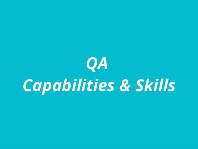 QA Capabilities & Skills