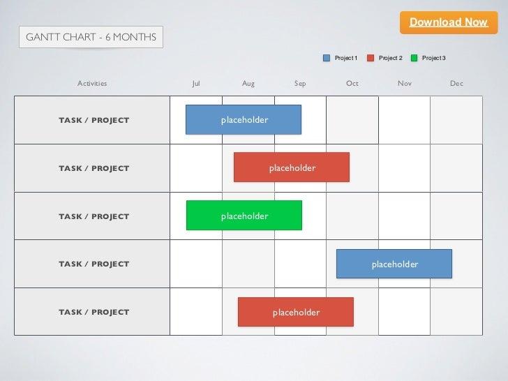Keynote template] Gantt Chart - 6 Months