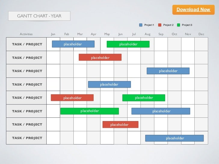 keynote template] gantt chart - year, Powerpoint templates