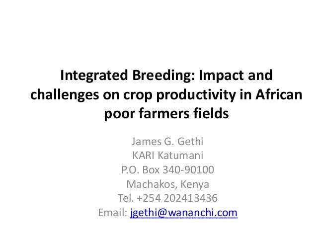 Integrated Breeding: Impact andchallenges on crop productivity in Africanpoor farmers fieldsJames G. GethiKARI KatumaniP.O...