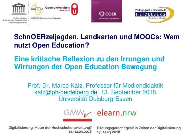 SchnOERzeljagden, Landkarten und MOOCs: Wem nutzt Open Education? Eine kritische Reflexion zu den Irrungen und Wirrungen d...