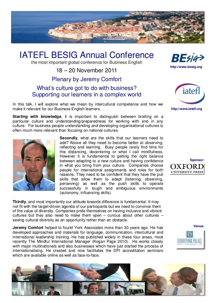 IATEFL BESIG Annual Conference          the most important global conference for Business English                         ...