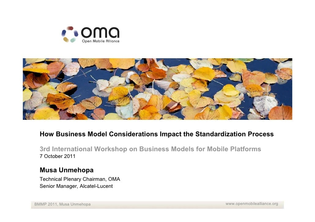 How Business Model Considerations Impact the Standardization Process  3rd International Workshop on Business Models for Mo...