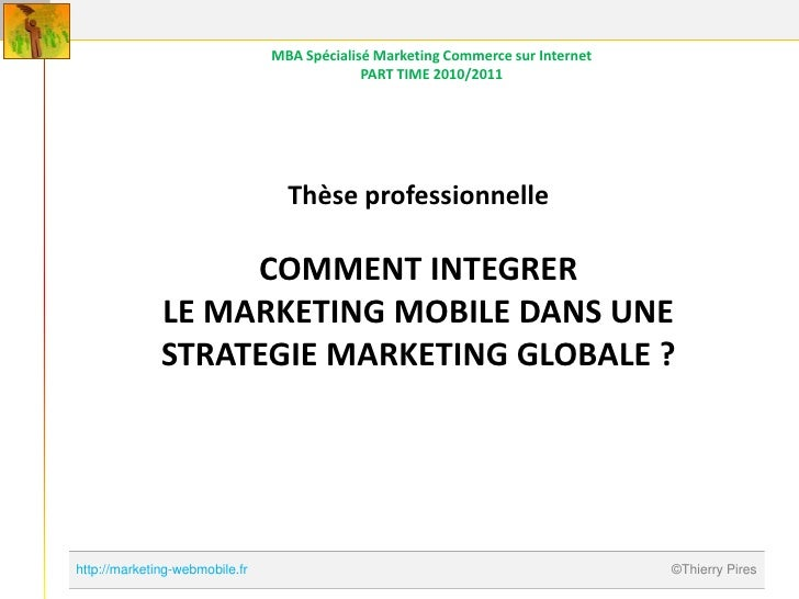 MBA Spécialisé Marketing Commerce sur Internet                                             PART TIME 2010/2011            ...