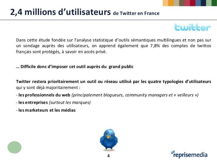 2,4 millions d'utilisateurs de Twitter en France Dans cette étude fondée sur l'analyse statistique d'outils sémantiques mu...