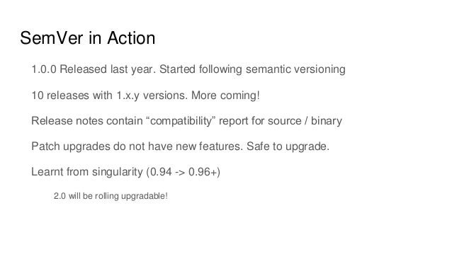 SemVer in Action 1.0.0 Released last year. Started following semantic versioning 10 releases with 1.x.y versions. More com...