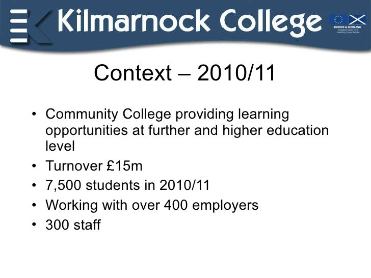 Context – 2010/11 <ul><li>Community College providing learning opportunities at further and higher education level </li></...