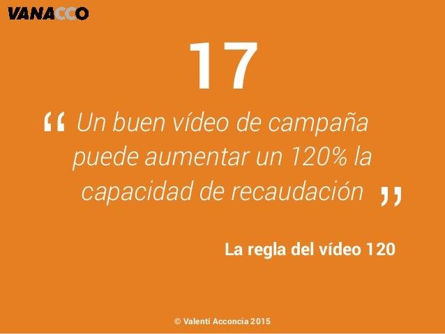 """Un buen vídeo de campaña puede aumentar un 120% la capacidad de recaudación """" """"La regla del vídeo 120 17 © Valentí Acconci..."""