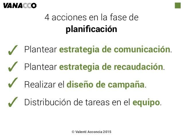 © Valentí Acconcia 2015 4 acciones en la fase de  planificación Plantear estrategia de comunicación. Plantear estrategia d...