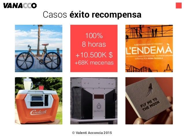 © Valentí Acconcia 2015 100% 8 horas +10.500K $ +68K mecenas Casos éxito recompensa
